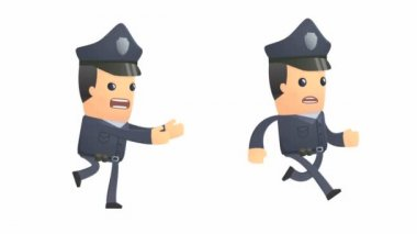 Angry policeman character catching up another character — Vídeo Stock