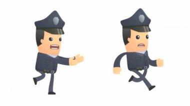 Angry policeman character catching up another character — Stock Video