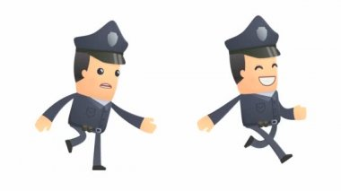 Policeman character runs and pulls another character — Stock Video