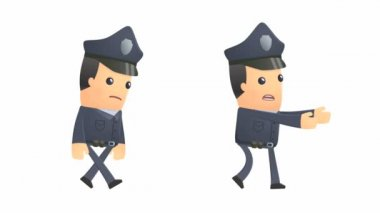 Policeman character going sad like a zombie — Stock Video