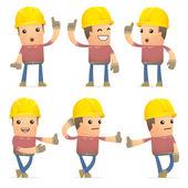 Set of builder character in different poses — Vector de stock