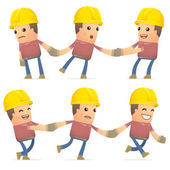 Set of builder character in different poses — Stock Vector