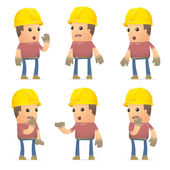 Set of builder character in different poses — Vetor de Stock
