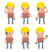 Set of builder character in different poses — Stok Vektör