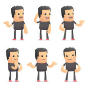 Set of bad guy character in different poses — Stock Vector