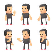 Set of bad guy character in different poses — Stockvector