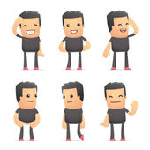 Set of bad guy character in different poses — Vector de stock