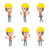 Set builder girl of character in different poses — Stockvector