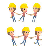 Set builder girl of character in different poses — Stock Vector