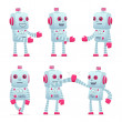 Set of robot character in different poses — Stock Vector #50073981