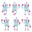 Set of robot character in different poses — Stock Vector #50074543