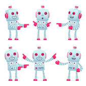 Set van robot teken in verschillende poses — Stockvector