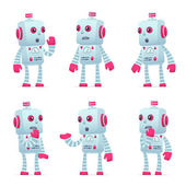 Set of robot character in different poses — Stockvektor