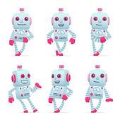 不同的姿势中的机器人角色一套 — 图库矢量图片