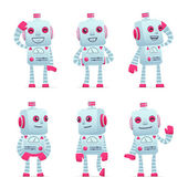 Set of robot character in different poses — Vector de stock