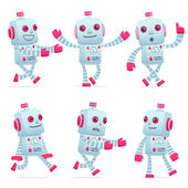 Set of robot character in different poses — Stock Vector