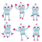 Farklı pozlar robot karakter kümesi — Stok Vektör