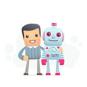 Man and the robot best friends — Stock Vector