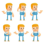 Set of mechanic character in different poses — Stock Vector