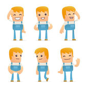Set of mechanic character in different poses — Vector de stock