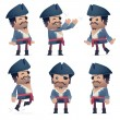Set of pirate character in different poses — Stock Vector
