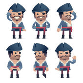 Set of pirate character in different poses — ストックベクタ