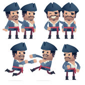 Set of pirate character in different poses — Vector de stock