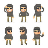 Set of hacker character in different poses — Stock vektor