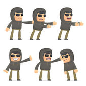 Set of hacker character in different poses — Stock Vector