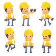 Set of contractor character in different poses — Stock Vector #50427655