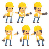 Set of contractor character in different poses — Stock Vector
