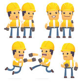 Set of contractor character in different poses — Vector de stock