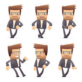 Set of director character in different poses — Stockvector