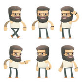 Set of tattoo artist character in different poses — Stock Vector