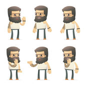 Set of tattoo artist character in different poses — Vector de stock
