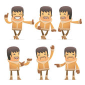 Set of eskimo character in different poses — Cтоковый вектор