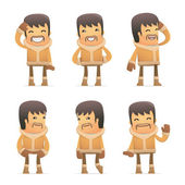 Set of eskimo character in different poses — Stockvektor