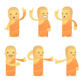 Set of monk character in different poses — Stock Vector