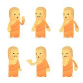 набор монаха характера в разных позах — Cтоковый вектор