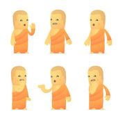 Set of monk character in different poses — Vettoriale Stock