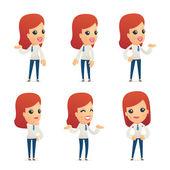 Conjunto de caracteres recepção em poses diferentes — Vetorial Stock