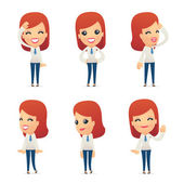 Set of reception character in different poses — Vector de stock