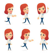 Set of reception character in different poses — Vettoriale Stock