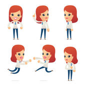 Set of reception character in different poses — Stock Vector