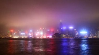 Hong Kong city sky line at night from Victoria harbour view