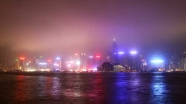 Hong Kong city sky line at night from Victoria harbour view — Stock Video #12653902