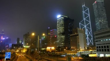 Street and building of Hong Kong city at night