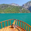 A view into the canyon in the Taurus mountains from riding boat - Stock Photo