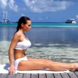 Beautiful woman resting near water at Maldives — Stock Video