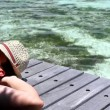 Handsome man resting near water at Maldives — Stock Video #12779136